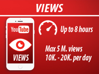 YouTube - Views | Min 1000 Max 5m | Speed 10k-20k | INSTANT
