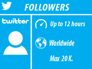 Twitter - Followers | Min100 Max20k| Till 12 o'clock | Whole world |