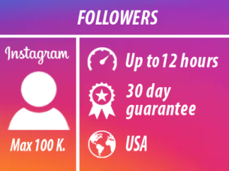Instagram Followers - USA | Min 100 Max 100k | INSTANT(Up to 12 hours with a guarantee up to 30 days) (80% America 20% other countries)